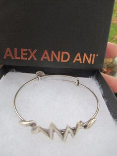 Authentic Alex and Ani Two Tone R Expandable Rafaelian Silver Charm Bangle