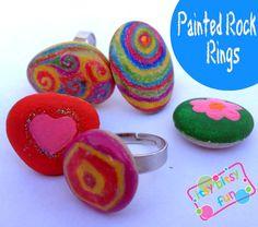 Easy Painted Rock Rings