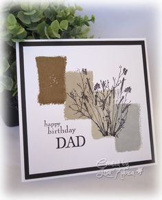 hand cradted birthday card ... Colorblock by Lisa Ku ... stamped blocks of neutrals in ombré array ... silhouette meadow grasses ....