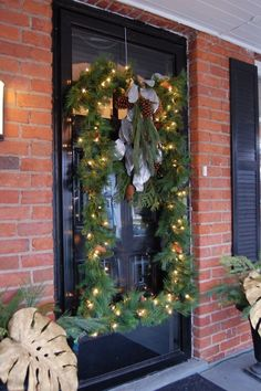 rectangular wreath ... pvc pipe frame with garland lights bow and other decor