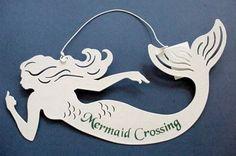 """Mermaid Tin Sign """"Mermaid Crossing"""