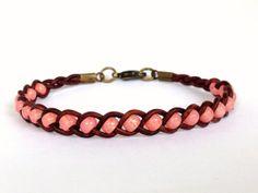 Beaded Braided Leather Single Wrap Bracelet Peach by LiveBubbly, $7.50