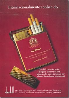 Cigarros Dunhill, 1970.