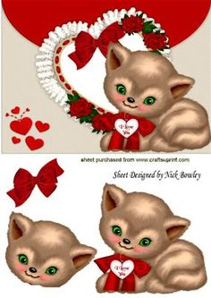 I LOVE YOU KITTY WITH FRILL HEART AND BOW on Craftsuprint - Add To Basket!