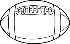 Rugby Ball or Football Line Art - Free Clip Art