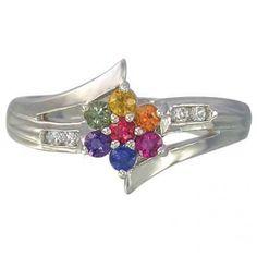 rainbow sapphire diamond fashion ring 925 sterling silver 280 ring jewelry diamonds - Rainbow Wedding Rings