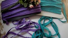 3 5 or 10 Yards of 1/2 Wide Teal or Purple by FabricBistro on Etsy