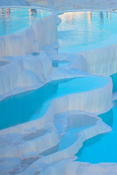 "Pamukkale, meaning ""cotton castle"" in Turkish is a natural site in southwestern Turkey that has existed for thousands of years. Yes, you read that correctly, this is a natural, and not man made site. Pamukkale, Turkey Destinations, Travel Destinations, Cool Places To Visit, Places To Travel, Wonderful Places, Beautiful Places, Mount Roraima, Places Around The World"