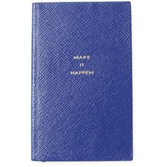 Smythson Make It Happen Notebook (806.810 IDR) ❤ liked on Polyvore featuring home, home decor, stationery, fillers, accessories, books, other and blue