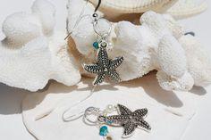 Beach earrings!  Starfish Earrings Silver Swarovski Crystal by ornatetreasures, $16.00
