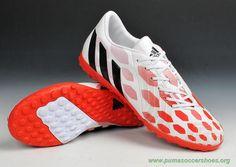 Mens White/Red TF ADIDAS Predator Instinct 2015 Soccer Cleats