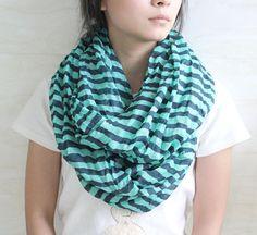 Green stripe infinity scarf oversize scarves by blackbeanblackbean, $8.50