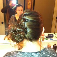 Braid side messy bun