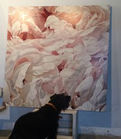 www.thomasdarnell.com  Gladys contemplates a recent peonies painting. #fineart #oilpainting #paintings