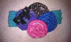 Four Fabric Rosette On Crochet Band by ivanasabljak on Etsy, $8.00