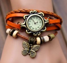 Retro Weave Around Leather Bracelet Watch