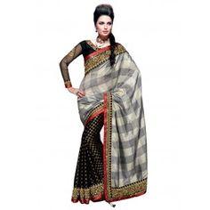 BREATHTAKING BLACK AND GREY HALF N HALF SAREE  Shop it Now - http://www.valehri.com/breathtaking-black-and-grey-half-n-half-saree