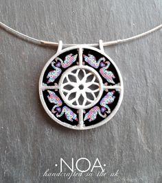 NOA Jewellery Aluminium and ceramics flower necklace with love swans. www.noajewellery.com