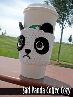 Sad Panda Coffee Cozy Crochet Pattern on Luulla Crochet Coffee Cozy, Crochet Cozy, Crochet Gifts, Cute Crochet, Crochet Designs, Crochet Patterns, Coffee Cozy Pattern, Crochet Panda, Crochet Hedgehog