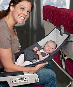Original, portable and hammock-style, this fabric seat creates a secure and comfortable place for Baby on airplanes and allows for face-to-face interaction. It can also be used as a convenient high chair at airports, restaurants, hotels or home. FlyeBaby folds up for complete portability and will fit easily in a diaper bag or carry-on luggage.
