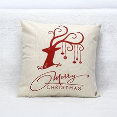 Square Pillow Case Christmas Red Deer Cartoon Animal Single Dog Cotton Linen Body Pillow Cover Bed Home Textile Sofa Cushion Covers, Cushions On Sofa, Throw Pillow Cases, Throw Pillows, Sofa Throw, Christmas Pillow, Christmas Gifts, Christmas Deer, Vintage Christmas