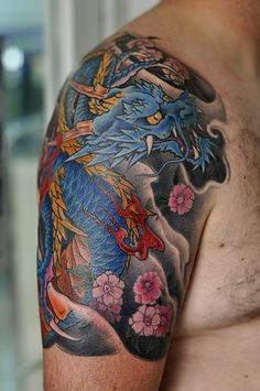 Blue dragon Japanese tattoo by George Bardadim Blue Dragon Tattoo, Dragon Sleeve Tattoos, Japanese Dragon Tattoos, Japanese Tattoo Art, Japanese Sleeve Tattoos, Best Sleeve Tattoos, Full Body Tattoo, Body Art Tattoos, Arabic Tattoos