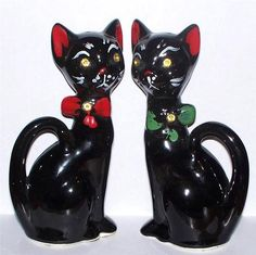 Vintage Ceramic Tall Black Cat Salt Pepper Shakers Rhnestone Eyes Calvert of CA | eBay