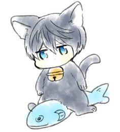 Drawn by uto00rog ... Free! - Iwatobi Swim Club, haruka nanase, haru nanase, haru, nanase, haruka, free!, iwatobi, cat, neko