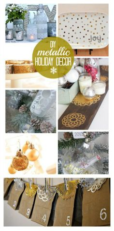 Pretty metallic gold and silver Holiday decor and craft project ideas for Christmas decorations using Martha Stewart Crafts line - plaidcrafts #crafting #diy #holiday #xmas