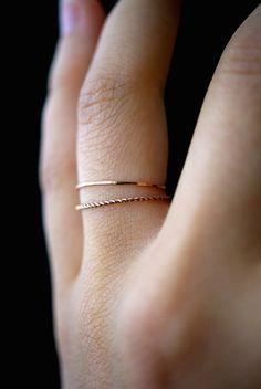 14 relleno K Rose Gold Twist apilamiento de anillos anillo de