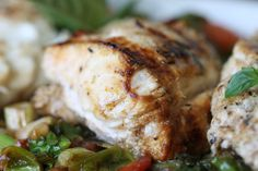 grilled ocean catfish with kale