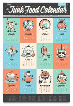 2014 Junk Food Calendar: A hangable desk calendar featuring 12 original monthly-themed junk food characters. Meal Calendar, Printable Calendar 2020, Texas Chili, Table Calendar Design, Kalender Design, Social Projects, December Holidays, Diy Workshop, Grafik Design
