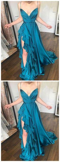 Unique blue v neck long prom dress, blue evening dress  by olesaweddingdresses, $126.60 USD Classy Sexy Dress, Classy Prom Dresses, Prom Dresses For Teens, Blue Evening Dresses, Prom Dresses 2017, A Line Prom Dresses, Beautiful Prom Dresses, Ball Gown Dresses, Prom Party Dresses