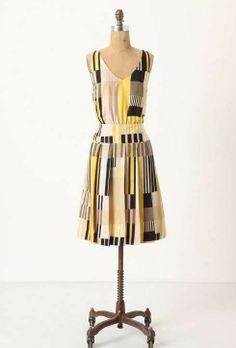 NWT Anthropologie MAEVE Otta Geometric Print Silk Dress Size 6 Yellow Modernist #Maeve #TeaDress #WeartoWork