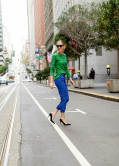 True Colors: Kelly Green Sweater & Cobalt Blue Track PantsMEMORANDUM, formerly The Classy Cubicle