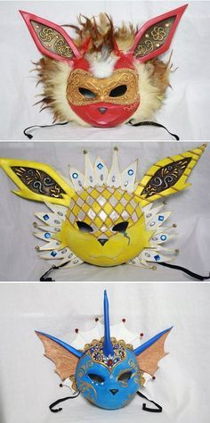 Eevee Evolution Masks - If I ever go to a masquerade I'm wearing the vaporeon one