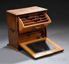 Victorian Brass-mounted Oak Writing Cabinet, England or America  c.2nd Half 19th Century