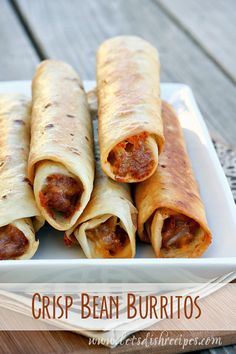 Crisp Bean Burritos (Taco Time Copycat Recipe): Refried beans wrapped in flour tortillas and fried until crispy. Just like the Taco Time original! Mexican Dishes, Mexican Food Recipes, Vegetarian Recipes, Cooking Recipes, Healthy Recipes, Vegan Bean Recipes, Dinner Recipes, Vegetarian Mexican, Mexican Desserts
