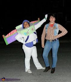 Buzz Lightyear and Woody. For the couple who are in it together to infinity and beyond! Needed:  White pants/leggings and white shirt, black belt, fabric paint for Buzz's control panel, cardboard for wings, jeans, plaid shirt, denim vest, cowboy hat and boots. #halloween #couplescostumes