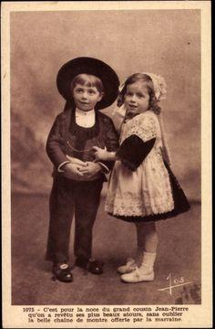 Ak Trachten Bretagne, Zwei Kinder, Jean Pierre, Hut, Kleid   eBay