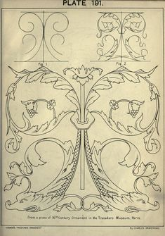 Freehand Ornament Drawing Rare Illustrated Book On Decorative Design With Happy New Year Art Nouveau, Motif Arabesque, Stencils, Ornament Template, Ornament Drawing, Arte Popular, Acanthus, Stencil Designs, Wood Carving