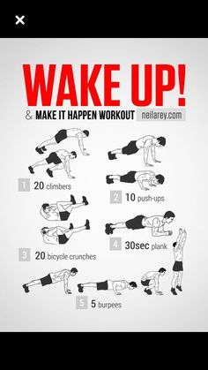 up and make it happen workout// i hate burpees I get tired after 2 lol seriously .NOT KIDDING. Wake Up Workout, Abs Workout Routines, Gym Workout Tips, Workout Challenge, Easy Workouts, At Home Workouts, Burpee Challenge, Song Workouts, Gym Workout Chart