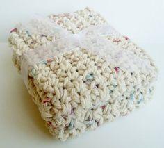 Crochet Washcloths Dishcloths - Tan Speckle