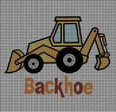 Cute Little Backhoe Crochet Pattern - Diy Crafts - hadido C2c Crochet, Granny Square Crochet Pattern, Single Crochet Stitch, Afghan Crochet Patterns, Crochet Chart, Cross Stitch Baby, Counted Cross Stitch Patterns, Cross Stitch Embroidery, Cross Stitches