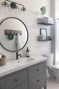 19 Must-Haves for a Small Farmhouse Bathroom Check out these 19 amazing decor ideas for your farmhouse bathroom! From lighting to shelves to the Bad Inspiration, Bathroom Inspiration, Bathroom Interior Design, Home Interior, Bathroom Renovations, Home Remodeling, Modern Farmhouse Bathroom, Rustic Farmhouse, Farmhouse Style
