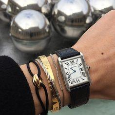 "THEBIRKINBOY sur Instagram : Details ... @cartier ""Tank"" watch/ @dossantos_finejewellery pure silver bracelet/ Cartier ""Love"" bracelet/ @elements_jewellery dos Santos…"