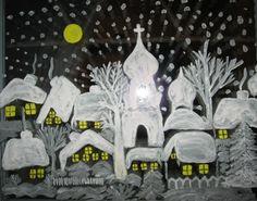 Картины на окнах. Лучше всего на окнах рисовать гуашью либо зубной пастой, разведенной водой