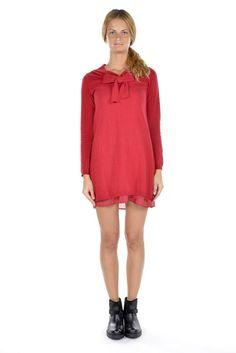 591b808ea5a2 Scee by Twin-Set abito corto tunica donna rosso manica lunga in cachemire. -