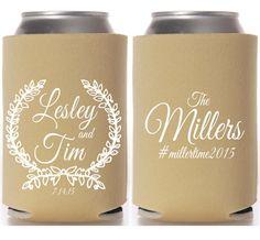 Custom Wreath Hashtag Wedding Coozies by ShopFringeBenefits