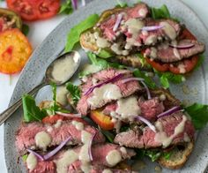 Steak Tartines with Lemon-Parmesan Vinaigrette. An easy to prepare open-faced sandwich with a delicious combination of seared steak on sourdough toasts with tomato, arugula and lemon parmesan vinaigrette. Beef Recipes, Cooking Recipes, Healthy Recipes, Vegetarian Cooking, Burger Recipes, Paninis, Bruschetta, Ham Hock Soup, Starbucks Recipes